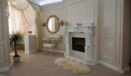 Фото дизайна комнаты с камином