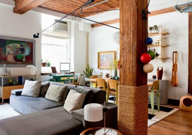 Конструктивные элементы (колонны) в дизайне интерьера фото 1